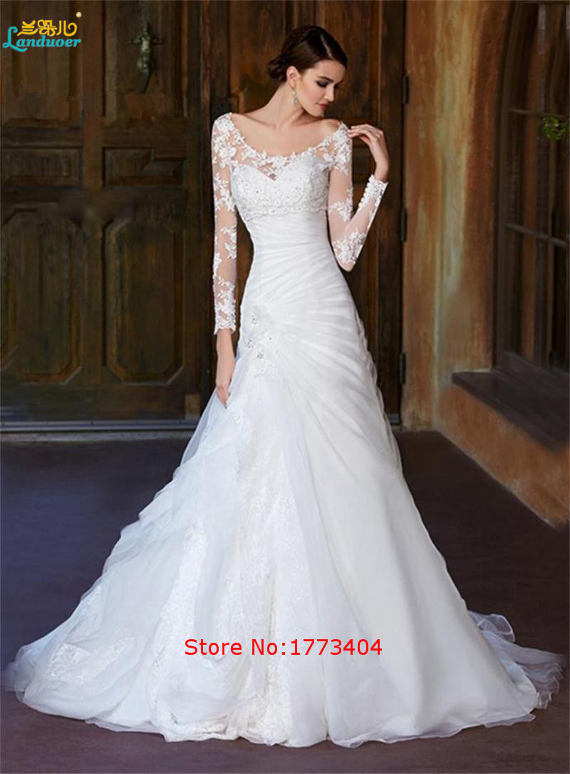 2016 elegant vintage wedding dresses long sleeve floor for Long sleeve plus size wedding dress