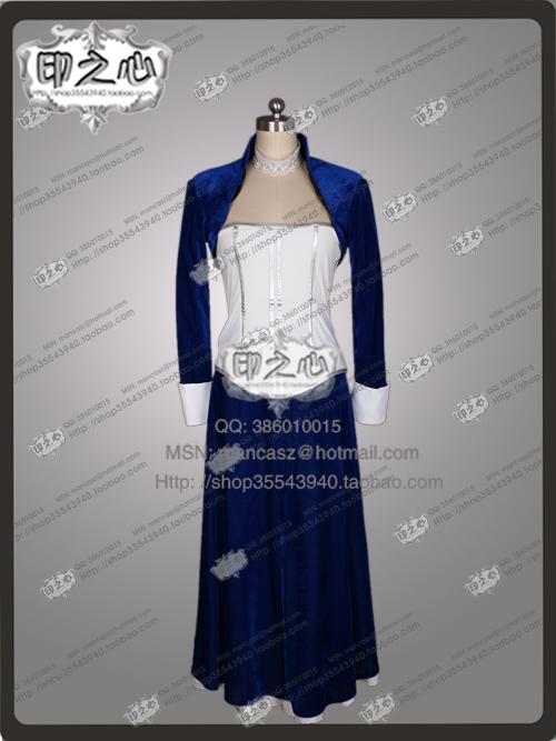 2016 Bioshock Cosplay Infinite Elizabeth Costume Velvet Dark Blue Dress Halloween Party Movie DressОдежда и ак�е��уары<br><br><br>Aliexpress
