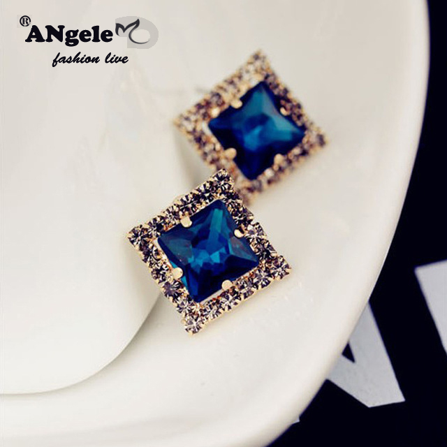 2016High Quality Geometric Triangle Stud Earrings blue Crystal Rhinestone Earrings Christmas Gifrs For women Jewelry Accessories(China (Mainland))