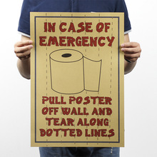 IN CASE OF EMERGENCY Toilet Paper Retro Rock Poster Kraft Paper Decorative Painting Drawing Mural Wall Background Hang Picture(China (Mainland))