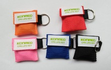 1 pc / Lot  Variety Color  Mini CPR Mask Keychains Outdoor Emergency Survival Training(China (Mainland))