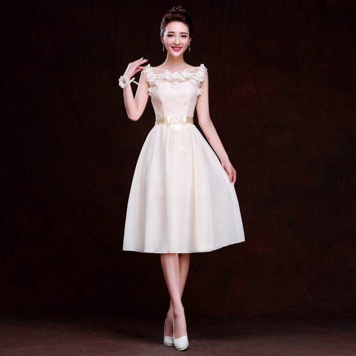 Champagne Short Dresses for Wedding Guest