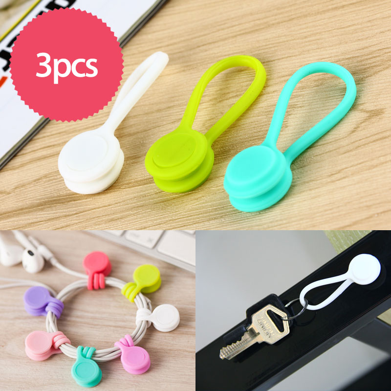 3pcs/lot Multifunction Magnet Earphone Cord Winder Cable Holder Organizer Clips Multi-color Cute Magnet Earphone Winder Cable(China (Mainland))