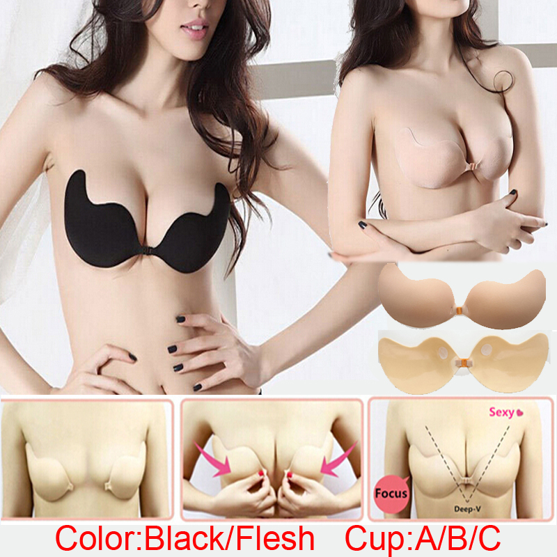Women Sexy Push Up Bra Front Closure Self-Adhesive Silicone Seamless Strapless Bra For Wedding Party Swimming(China (Mainland))