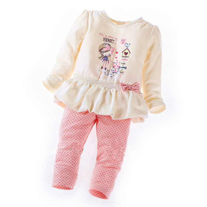 2015 new Style Full girl set children sets baby set tops+pants 2pcs set infant girl clothes(China (Mainland))