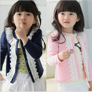 2016 New Girls Spring-autumn outerwear girl's casual sweet lace o-neck kids jackets & coats cotton knitted cardigan retail, C140 - Rising Kid store