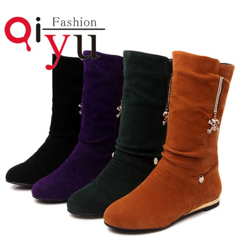 Size 35 39 sweet Women Mid Calf Boots metal decorate flat Heel Nubuck Leather knight Boots autumn Round toe four color shoes