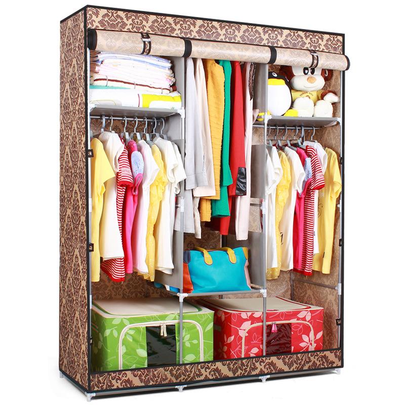 Folding Portable Double Wardrobe Cabinet Non Woven Fabric