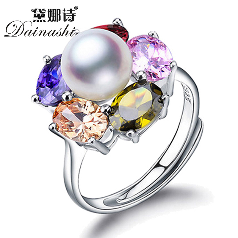 New Arrival Beautiful Design 925 sterling silver Austrian Crystal Ring Classic Fashion Jewelry Party Gift For Women Pearl RINGS(China (Mainland))