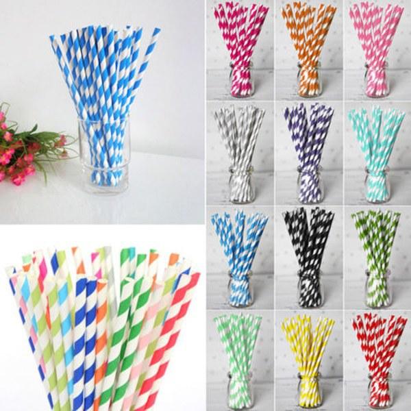 25Pcs/Lot Colorful Paper Drinking Straws Star Striped Drinking Straw Kids Party Wedding Birthday Holiday Decor(China (Mainland))