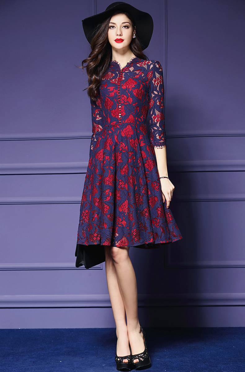 Free Shipping 2016 Spring Wear New Style European Women 39 S Clothing Lace Print Dress A0144 In