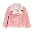 Autumn New Girl Suede Coats Kids Pink Suede Jacket Warm Fashion Lapel Collar Long Sleeve Zipper