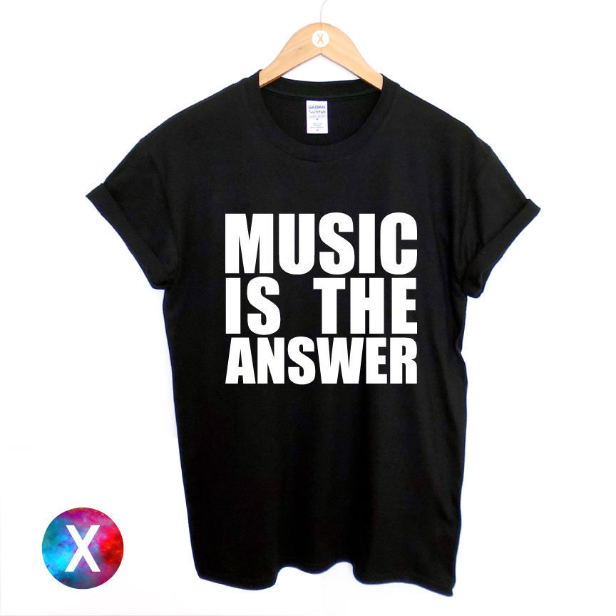 Music Is The Answer Printed Black T Shirt New Mens Womens