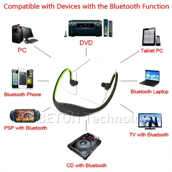 Universal Sport Stereo Handsfree Wireless Bluetooth Headset Earphone Headphone  Micro Music Player   for all phones