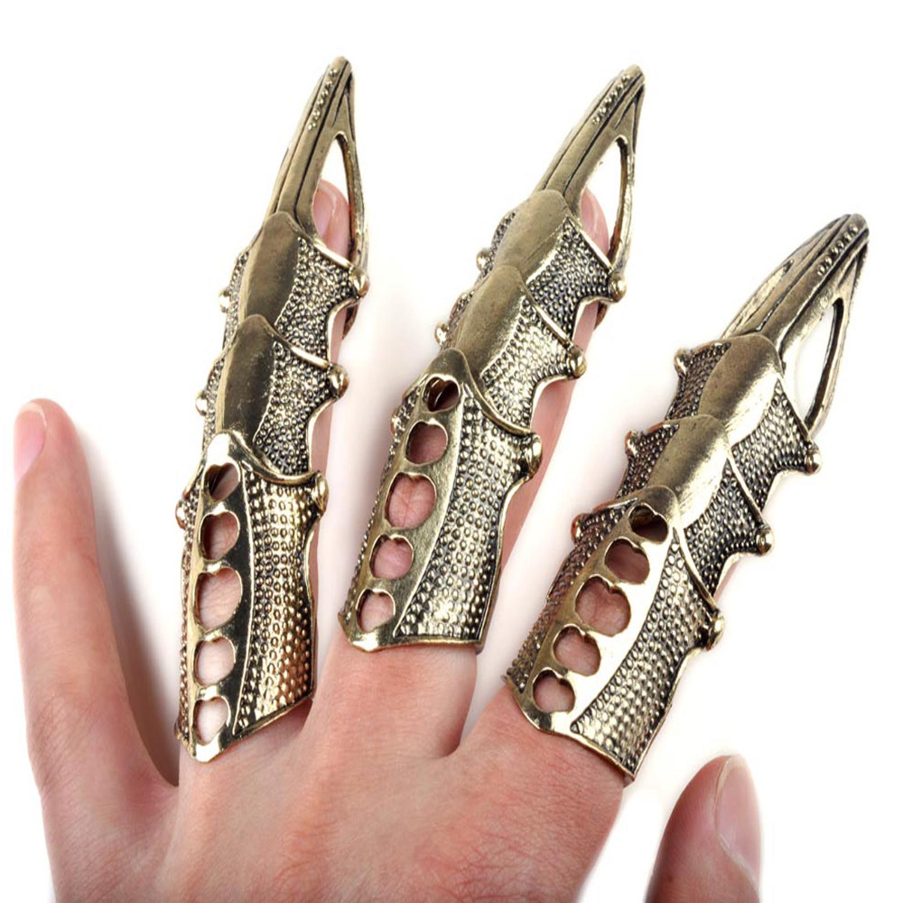5Pcs/Lot Wholesale Gothic Punk Hinged Knuckle Full Finger Armor Rings Claw Bulks(China (Mainland))