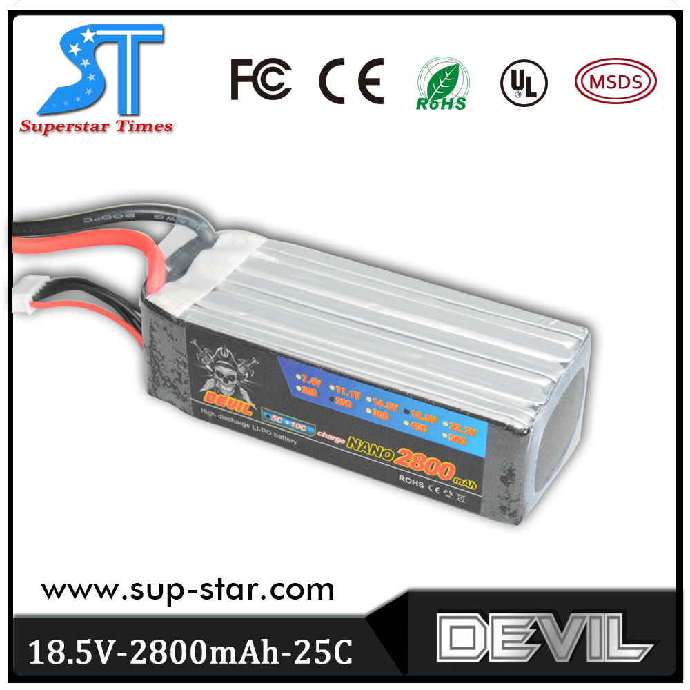 Фотография Free shipping factory outlet Devil 18.5v 2800mAh 25c 100% origin lithium battery for rc car helicopter airplane
