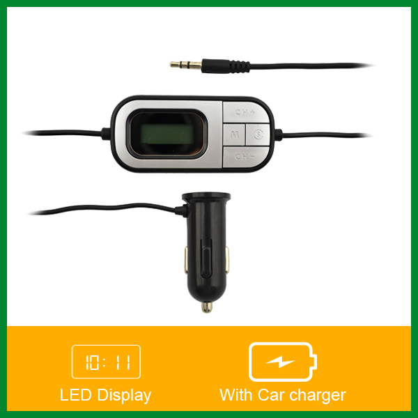 LCD Display Auto Scan Hi-Fi Stereo Car Music Play FM Transmitter with 5V/1.5A Car Charger(China (Mainland))