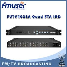 Free shipping FMUSER FUTV4031A Quad FTA IRD Satellite Receiver(4 DVB-S RF Input,ASI Output,AV Out)with Demodulating&Decoding