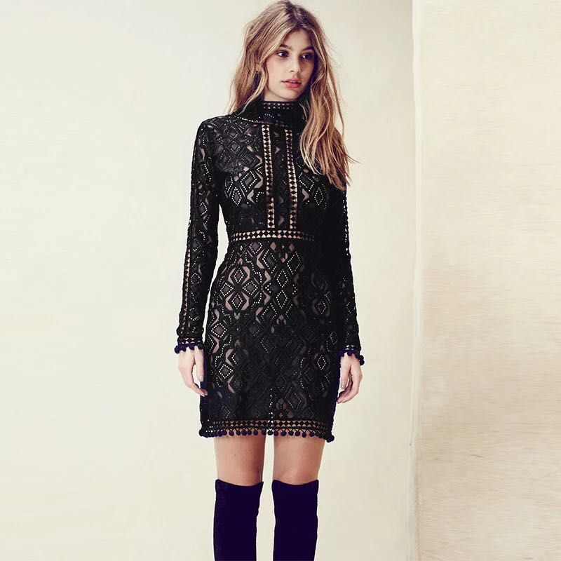 [SALE] 2015 autumn for love lemons Style rhombus racerback lace long-sleeve dress sexy black stand neck one-piece dressОдежда и ак�е��уары<br><br><br>Aliexpress