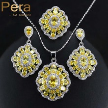 Pattern Ladies 925 Sterling Silver Costume Jewelry Big Sq. Yellow Cubic Zircon Crystal Necklace / Earrings Set For Ladies J163