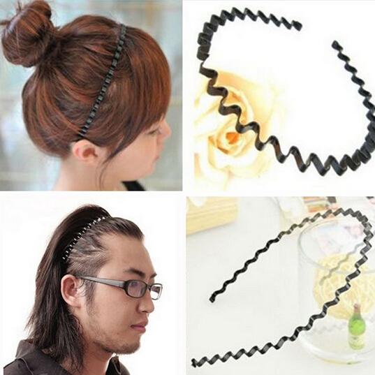 1 pc Fashion Mens Women Unisex Black Wavy Hair Head Hoop Band Sport Headband Hairband hair accessories A171-2(China (Mainland))