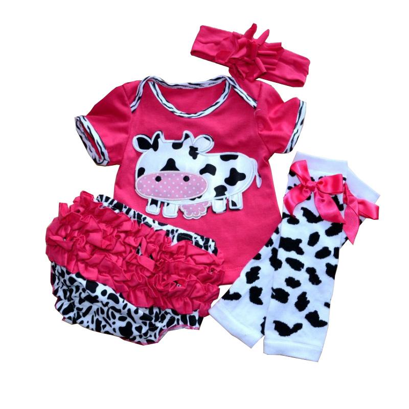 Cute Cow Newborn Baby Girl Tutu Sets Bodysuits Ruffle Bloomers Leg Warmers Headband 4 PCS Tutu Set Infant Clothing Toddler Tutus(China (Mainland))
