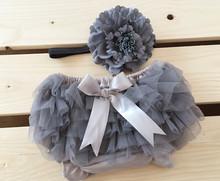 Baby Girl Grey Tutu Bloomers Chiffon Ruffle Diaper Cover with match grey headband set(China (Mainland))