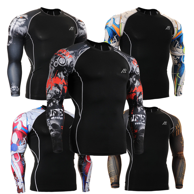 Fashion Male Long Sleeves Compression Tights Tee Shirts Multi-functional 3D Prints Outdoor Sports Running Elastic Wear ClothesОдежда и ак�е��уары<br><br><br>Aliexpress