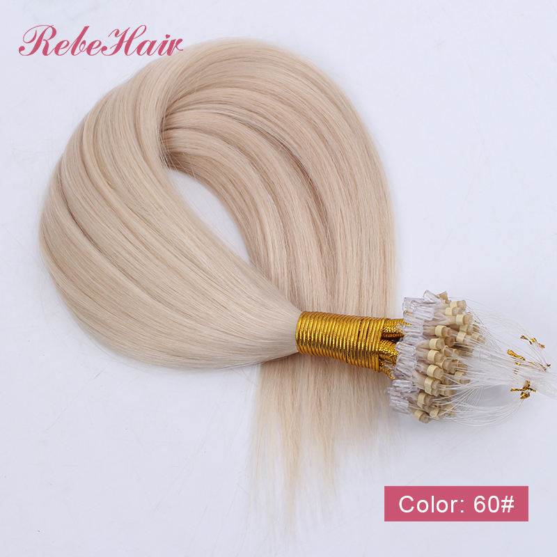 100 Strands Straight Micro Loop Extension Color 60# 8A Grade Brazilian Human Hair Micro Loop Ring Extensions