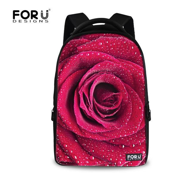 2015 New Arrival Red Flower Rose Print Canvas Backpack Teenager Girls Vintage Ethnic Pink Floral Backpack Women Rucksack<br><br>Aliexpress