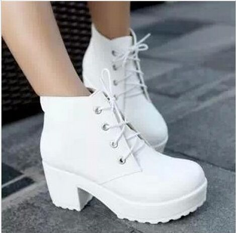 Free shipping!2015 New Fashion Black&White Punk Rock Lace Up Platform Heels Ankle Boots thick heel platform shoes(China (Mainland))