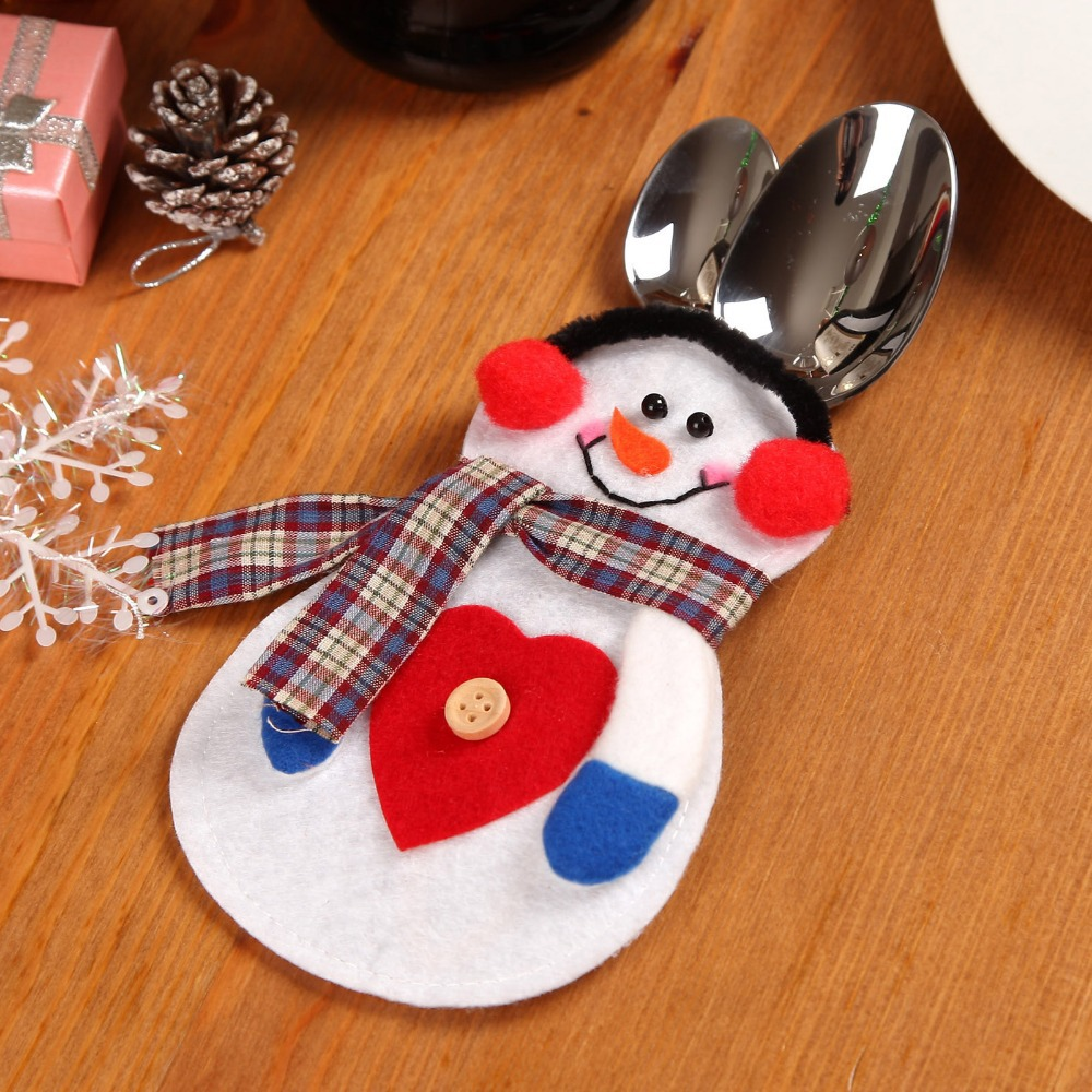 Knitting Pattern For Christmas Cutlery Holder : Aliexpress.com : Buy 4pcs/Set Lovely Christmas Decoration Snowman Pattern Chr...