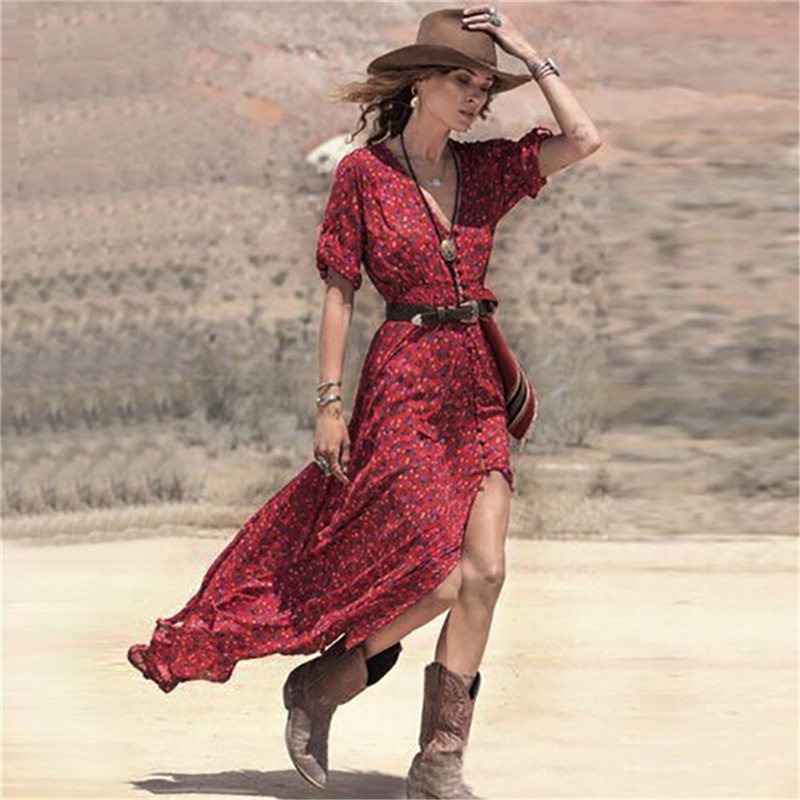 72acbfd34a 2019 Wholesale New 2016 Summer Sexy Women Boho V Neck Floral Print Split Long  Maxi Dress Casual Ladies 3 4 Sleeve Tunic Beach Dresses Vestido From Peay