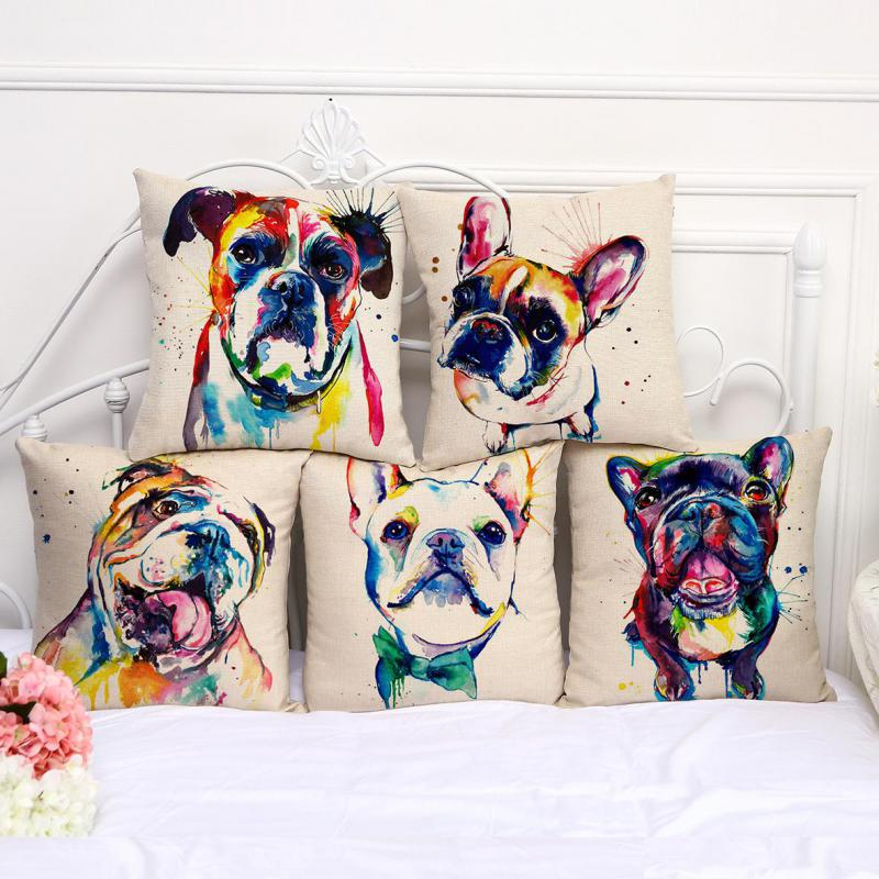 Factory Direct Supply French Bulldog Painting Series Cotton Linen Throw Pillow Home Room Decor Bedside Back Cushion(China (Mainland))
