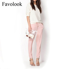 Favolook 2016 New Fashion Casual Women Pants Summer Elastic Waist Office OL Slim Lady Harem Pants Plus Size Women Trousers(China (Mainland))