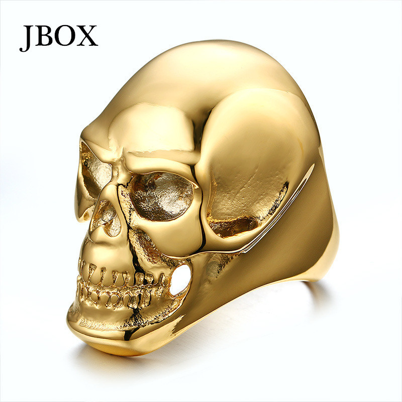 Rings large gold plated skull rings for men stainless steel punk rock