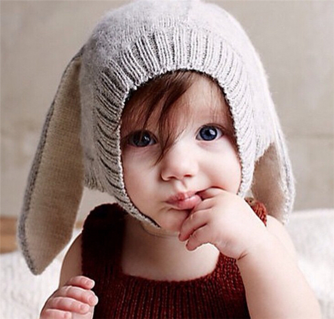 Spring Unisex Kids Baby Girls Boys Knitted Hats Cute Rabbit Long Ear Hat Soft Crochet Baby Bunny Hats Baby Bonnet Photo Props(China (Mainland))