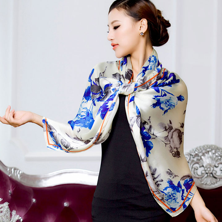 2016 spring new 100% real silk Scarf women Shawl Female fashion Scarves georgette satin long design floral size 180x70CM(China (Mainland))