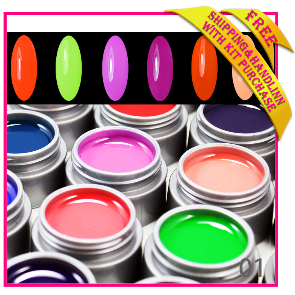 Free shipping New 6 Colours Pots Pure UV Gel fashi...