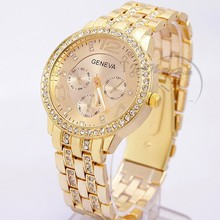 2015 New Famous Brand Women Gold Geneva Stainless Steel Quartz Watch Military Crystal Casual Analog Watches Relogio Feminino Hot
