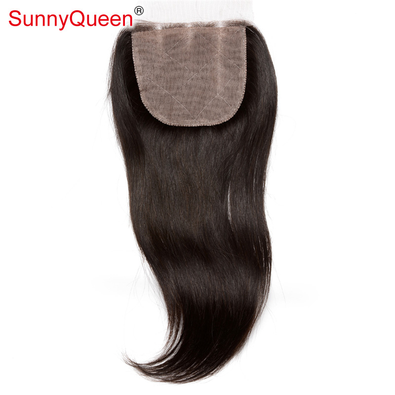 6A Brazilian Straight Silk Base Closure 4X4 Virgin Brazilian Straight Silk Base Lace Closure Bleached Knots Free Middle 3 Part
