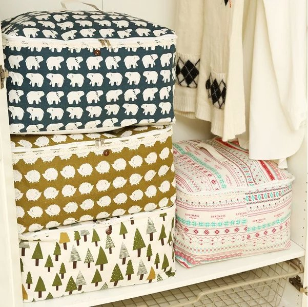 new zakka cartoon pattern cloth clothes wear cotton quilt storage bag Clothes Zipped Handles Laundry Storage Bag Box(China (Mainland))