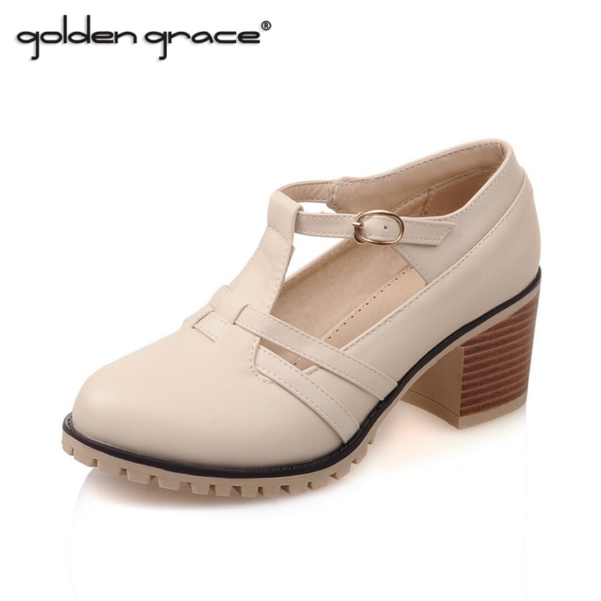 2016 Spring And Summer Single Shoes T Strap Thick Medium Heels Shoes Hells Shoes Small Yards Plus Size Fashion Casual Shoes(China (Mainland))