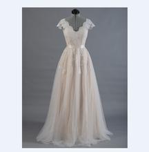 Vestido de novia Lace A-line Wedding dress Cap sleeve V-back Bridal gown Lace with Tulle