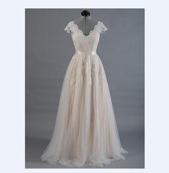 Жилетido novia кружева - линии свадебное платье Cap рукавом v-обратно свадебное платье ...
