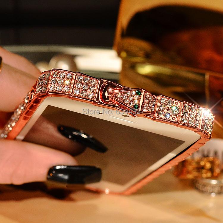 Luxury Crystal Rhinestone Bumper Frame For Apple iPhone 5/5s 6/6 Plus 4.7' 5.5' Diamond Bling Case Capa Celular(China (Mainland))