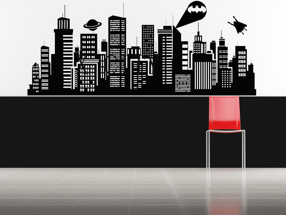 SUPERHERO Batman Movie New York Gotham Skyline WALL ART STICKER VINYL DECAL DIE CUT FOR CHILDREN KIDS ROOM STENCIL MURAL DECOR(China (Mainland))