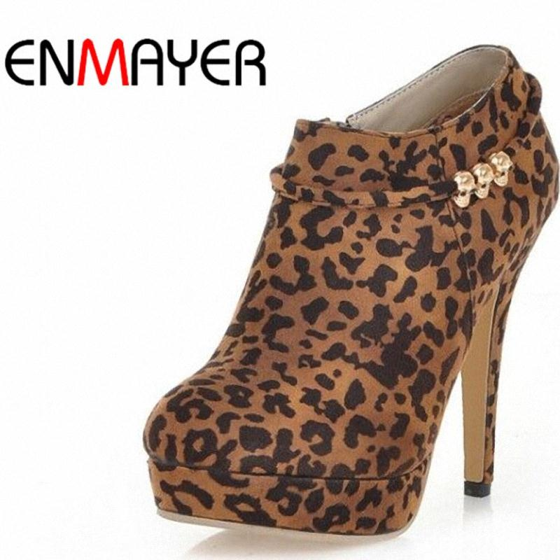 ENMAYER High boots leopard women boots Thin Heels new 2015 Spring /Autumn boots for women Ankle boots platform party shoes woman