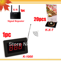 Calling paging system of 1pc Pager and 20pcs table bells with free menu holder and 1pc Bosster enchance signal DHL free ship