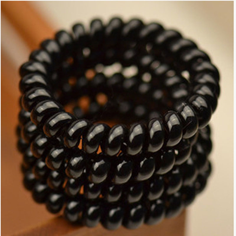 50pcs Black Elastic Girl Rubber Popular Telephone Wire Gum For Ladies Hair Band Rope Black Bracelet Hair Accessories(China (Mainland))